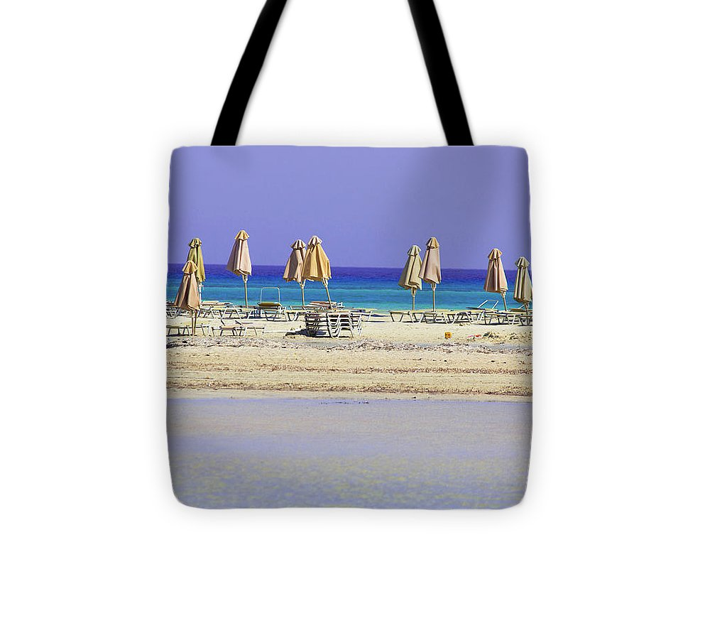 Beach, Sea And Umbrellas - Tote Bag