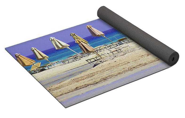 Beach, Sea And Umbrellas - Yoga Mat