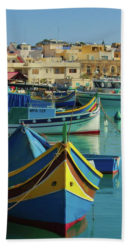 Largest Fishing Harbour Of Malta - Beach Towel
