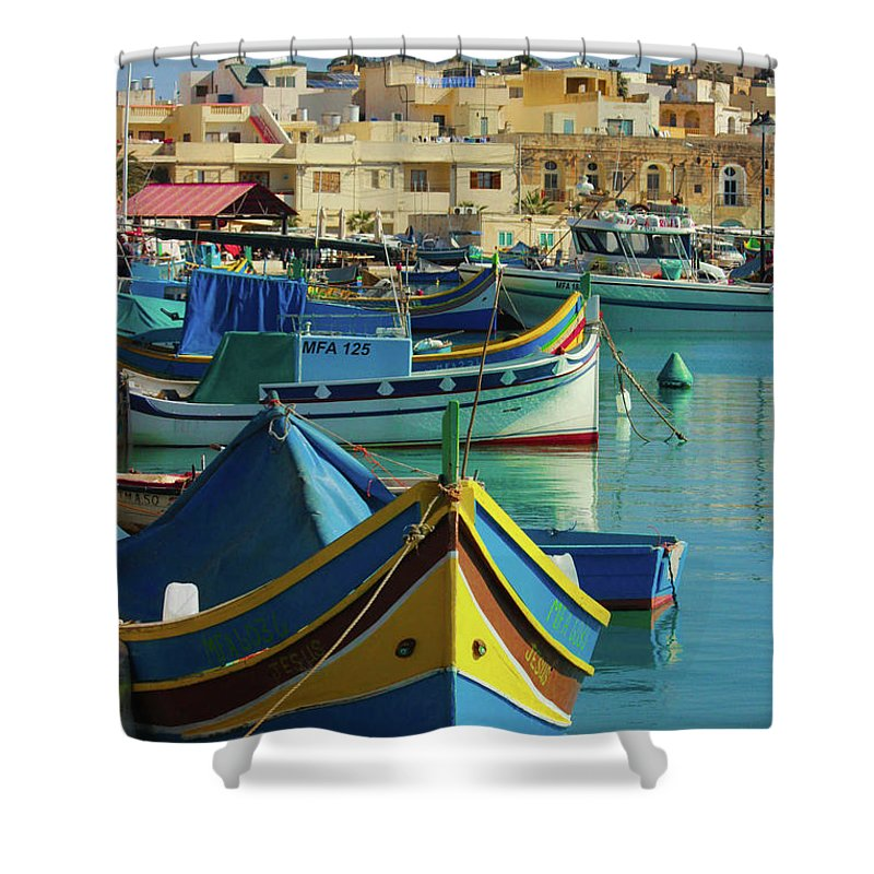 Largest Fishing Harbour Of Malta - Shower Curtain
