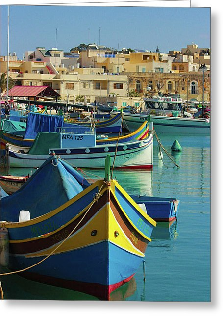 Largest Fishing Harbour Of Malta - Greeting Card