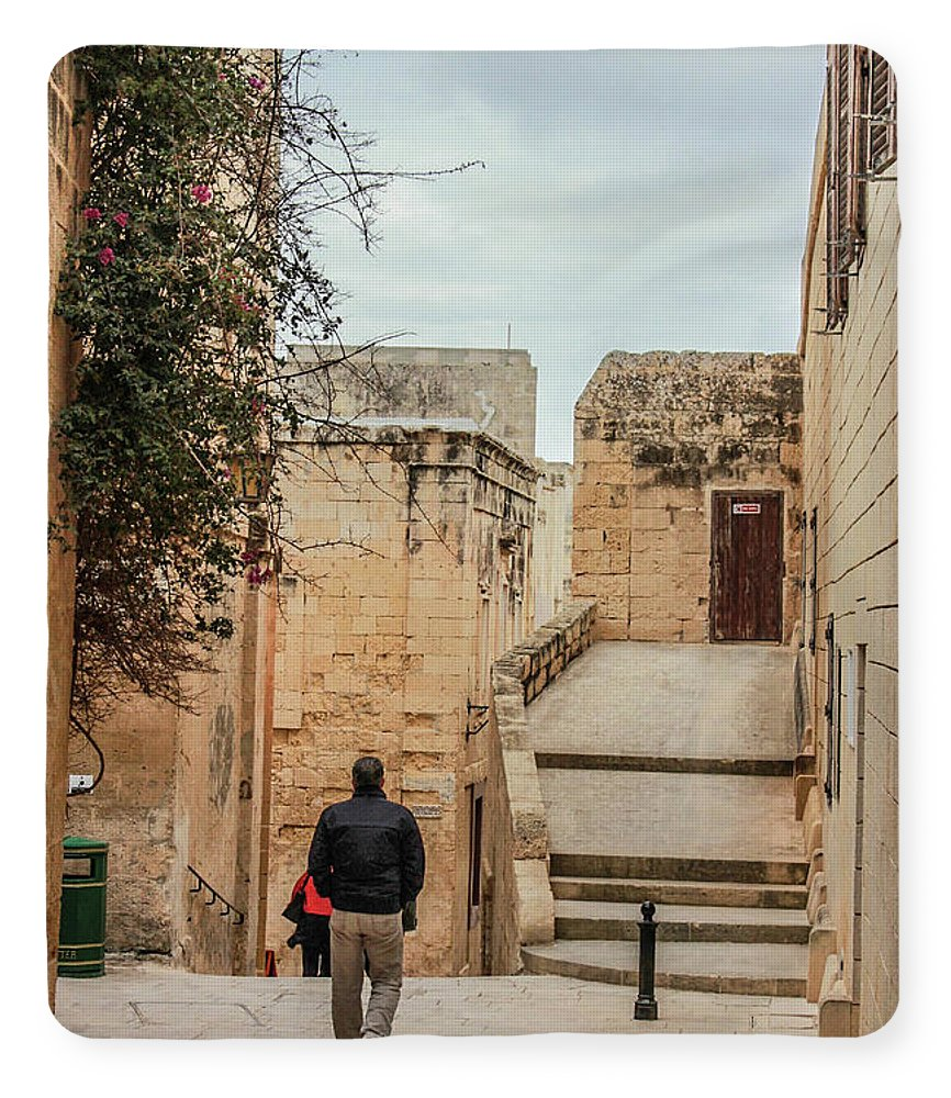 On The Streets Of Mdina Malta - Blanket
