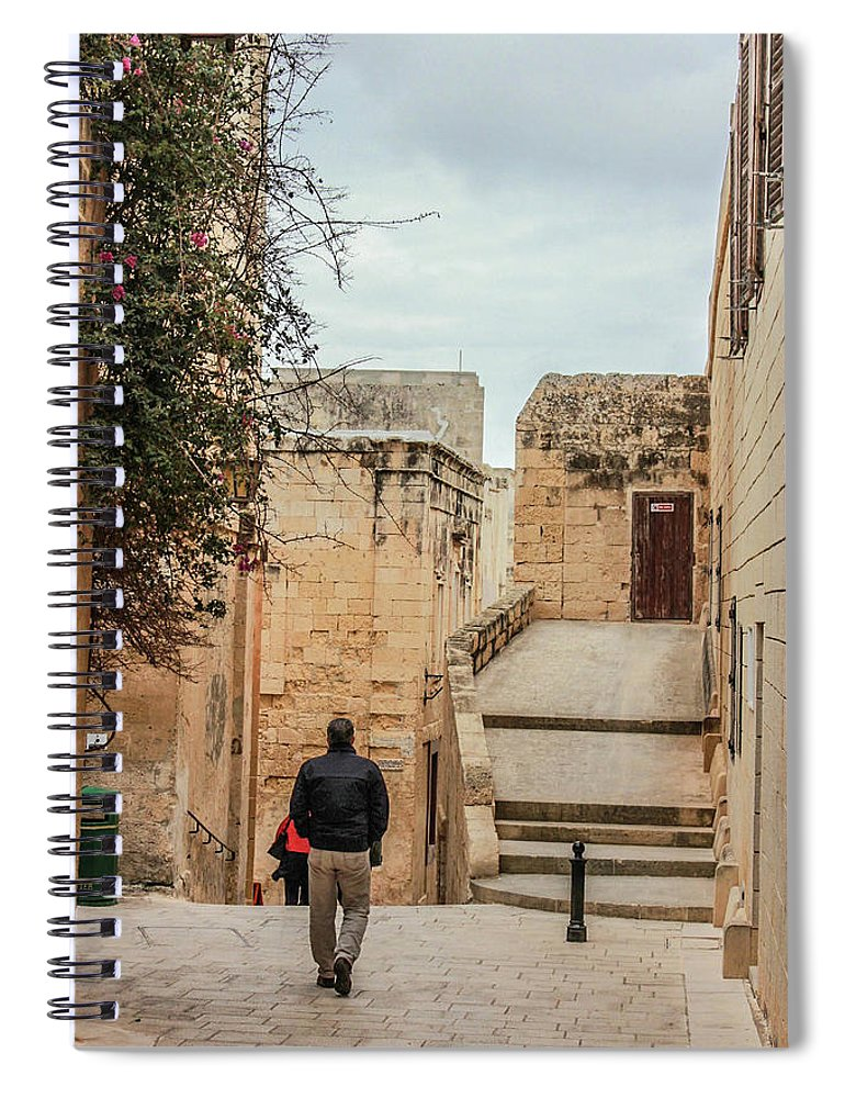 On The Streets Of Mdina Malta - Spiral Notebook