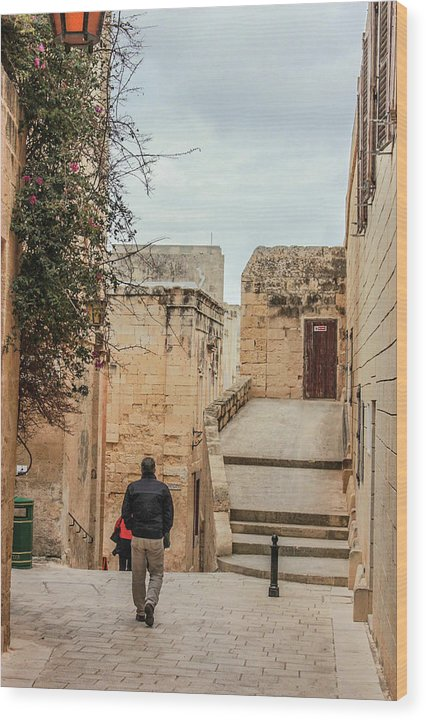 On The Streets Of Mdina Malta - Wood Print