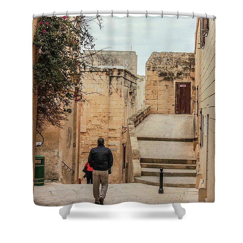 On The Streets Of Mdina Malta - Shower Curtain