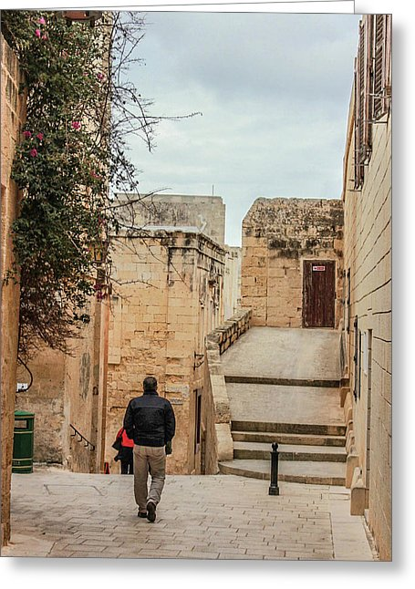 On The Streets Of Mdina Malta - Greeting Card