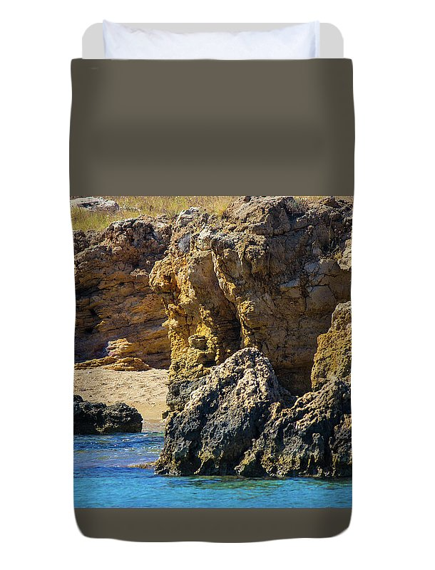 Rocks And Sea Of Spinalonga - Duvet Cover
