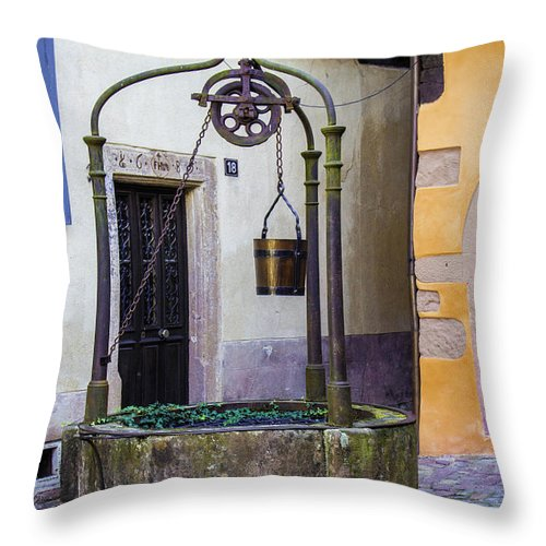 The Fountain Of Riquewihr - Throw Pillow