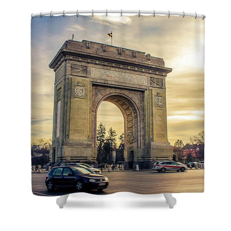 Triumphal Arch Bucharest - Shower Curtain