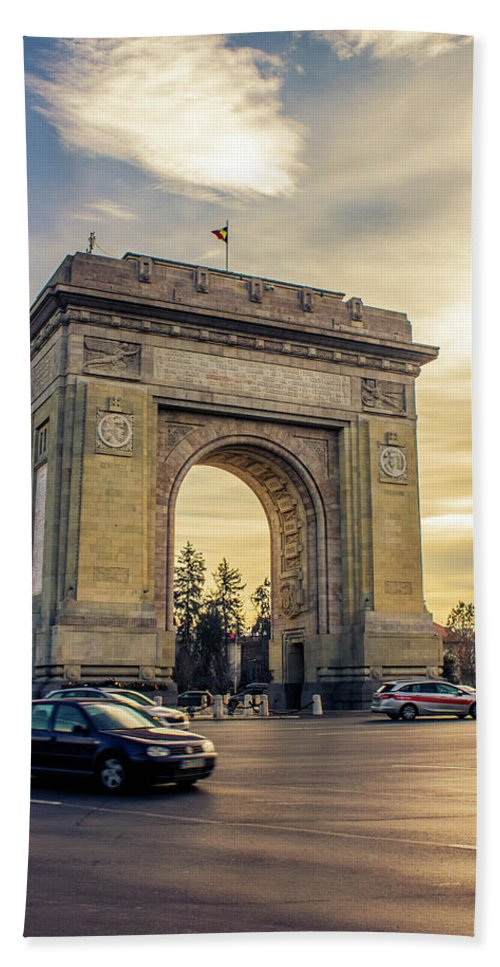 Triumphal Arch Bucharest - Bath Towel