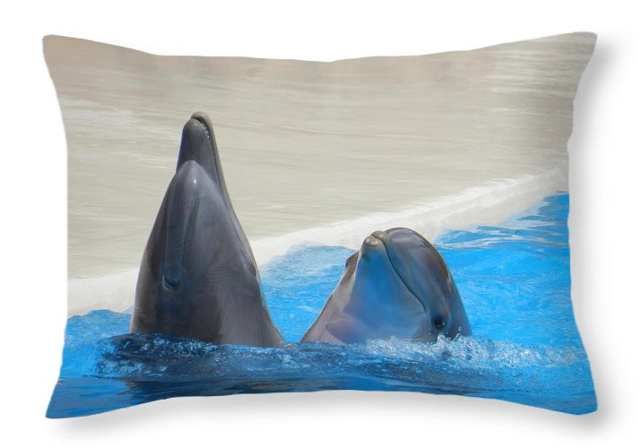 When Dolphins Dance - Throw Pillow