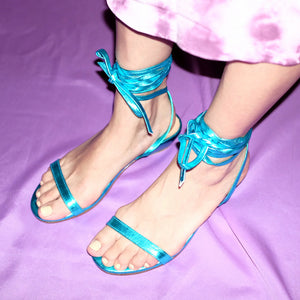 The Wraparound Sandals - Metallic Blue