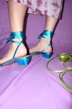 Load image into Gallery viewer, The Wraparound Sandals - Metallic Blue