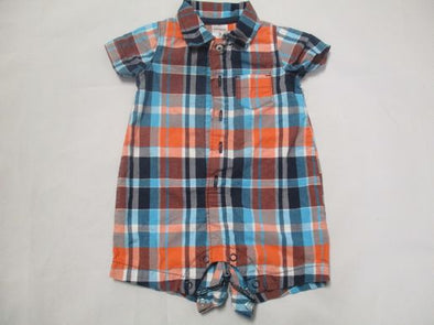 brand_carter's size_3m color_orange pattern_plaid Onesie