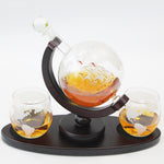 Globe Whiskey decanter set with longer pedestal, Dark Wood Holder, With Funnel, 2 Glasses and 9 Black Stones, Artisan crafted Whisky Carafe, Drink present Dad gift, For Rum Scotch Brandy
