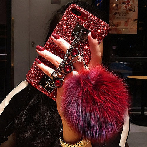 Red Bling Pom Pom Iphone Case - Luxe Bae