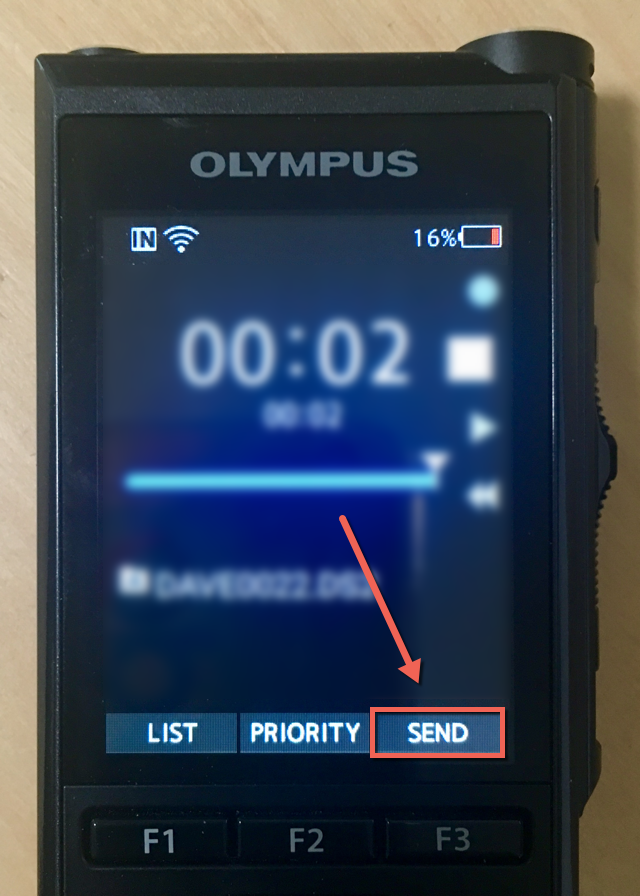 Olympus DS-9500 Send Dictation from dictaphone via email over wifi