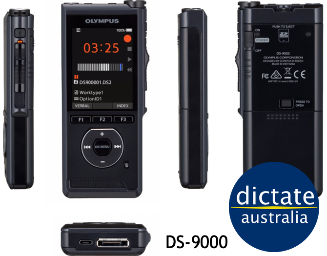 DS9000 Olympus DS-9000 Australia Dictaphone Voice Recorder Windows 10 MacOS