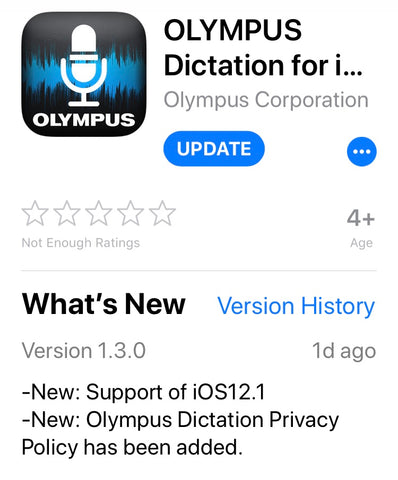 Olympus Dictation App for iOS v1.3.0 Australia