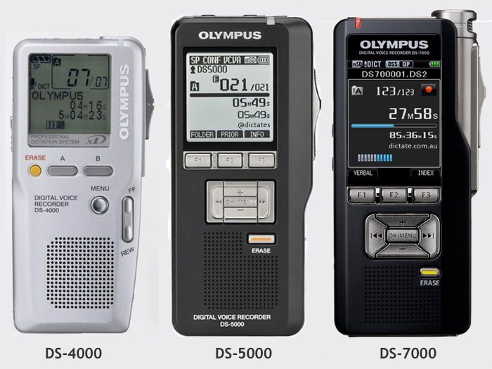 The evolution of Olympus professional digital dictation machines DSS DS-4000 DS-5000 DS-7000