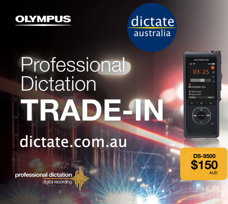 Olympus DS-9500 Trade In Offer Promo with $150 Cash Back Dictate Australia