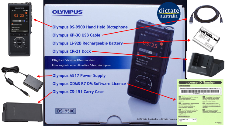 Olympus DS9500 Dictation Kit Included In The Box Contents Spare Parts