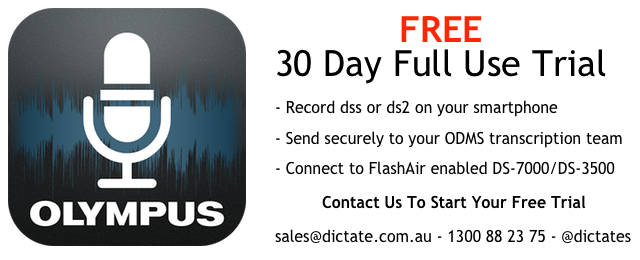Olympus Dictation App Free trial Android iPhone Send dss ds2 from your smartphone Australia