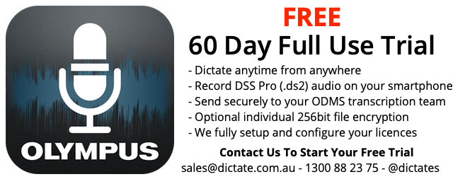 Olympus Dictation App Licence Free trial Android iPhone Send ds2 audio from your smartphone Australia