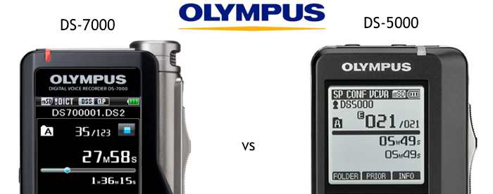 Compare Olympus DS-7000 vs DS-5000 digital dictaphone voice recorder