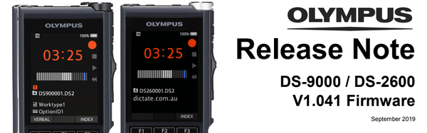 Olympus DS-9000 and DS-2600 firmware update v1.041 released