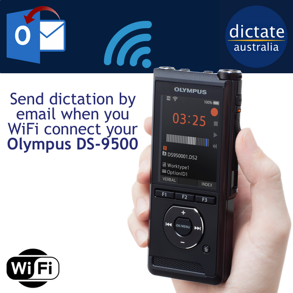 How To Send Dictation Audio from Olympus DS-9500 Connected to Wifi Network
