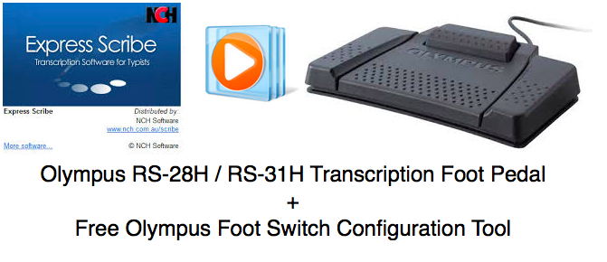 Olympus USB Transcription Foot Pedal Control Express Scribe RS-28H RS-31H