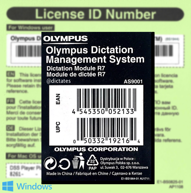 AS9001 Olympus AS-9001 ODMS R7 - Dictation Module Licence