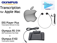Transcription Kit for Apple Mac - Software + USB Foot Pedal + Headset