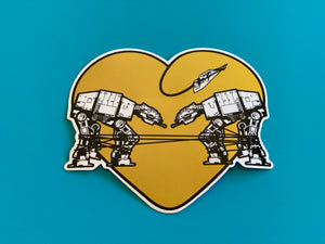 Die Cut Sticker - Love AT-AT First Sight - Yellow
