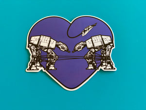 Die Cut Sticker - Love AT-AT First Sight - Dark Purple