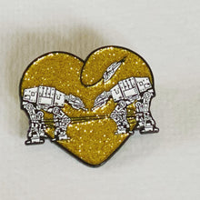 Load image into Gallery viewer, Enamel Pin: Love AT-AT First Sight - Gold Glitter