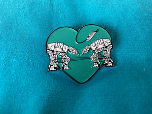 Enamel Pin: Love AT-AT First Sight - Teal