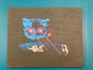 Wood Print - Meta Laser Cat