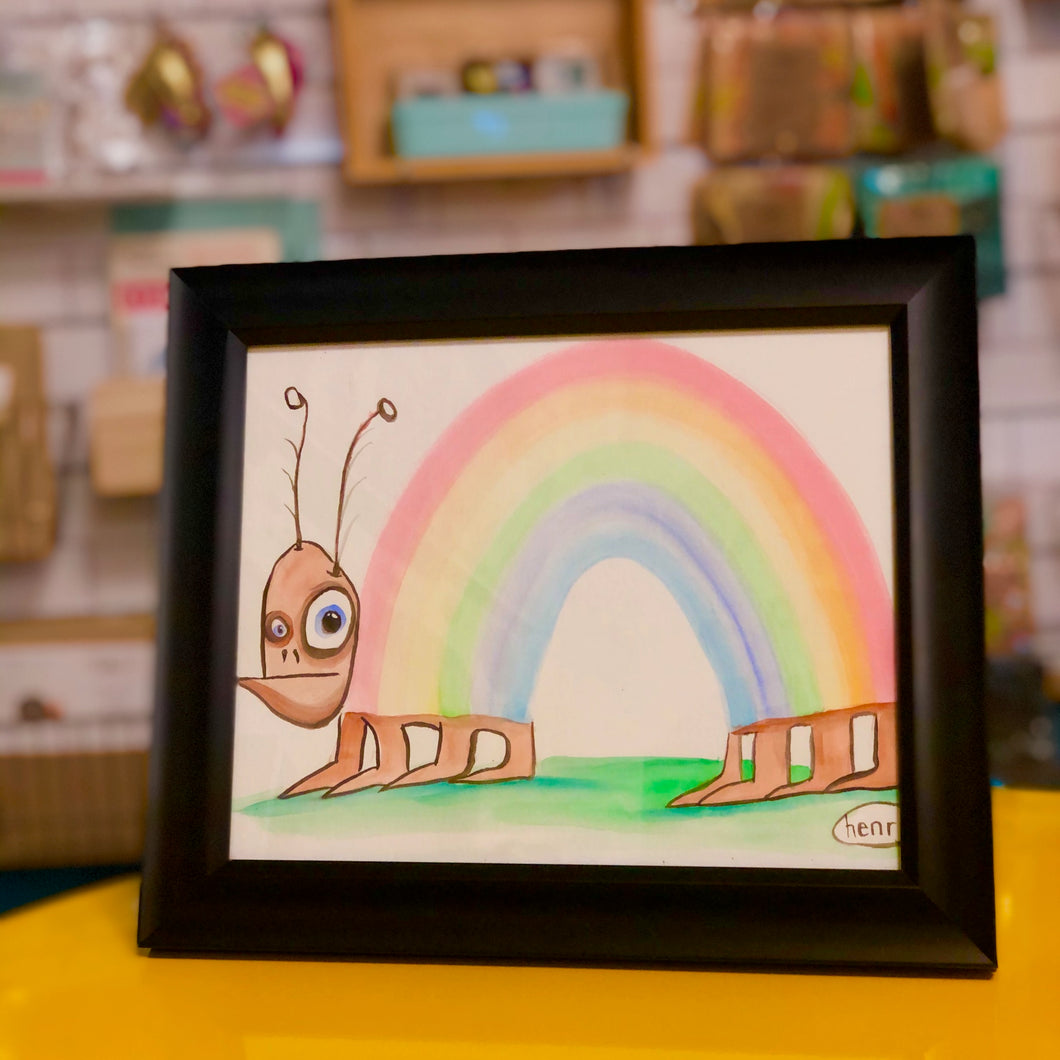 Original Watercolor - Rainbow Caterpillar by Henry