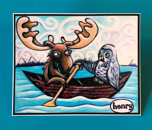 Sticker - Moose and Owl Canoe