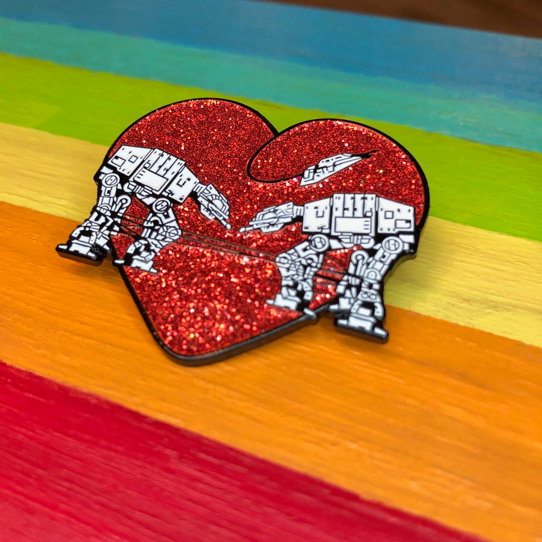 Enamel Pin: Love AT-AT First Sight - Red Glitter
