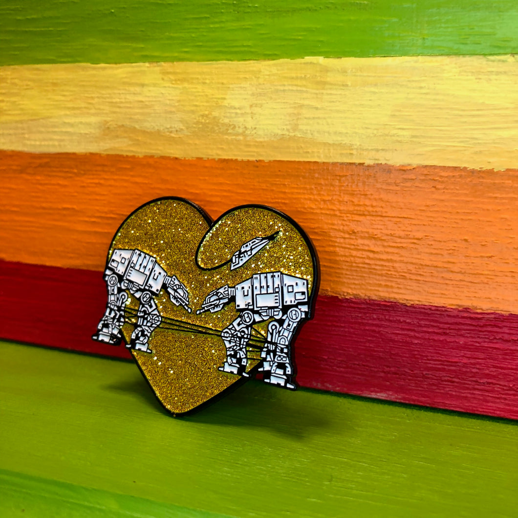 Enamel Pin: Love AT-AT First Sight - Gold Glitter