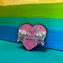 Load image into Gallery viewer, Enamel Pin: Love AT-AT First Sight - Pink Glitter