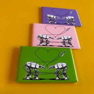 Magnet: 3x2 Inch - Love AT-AT First Sight - Purple