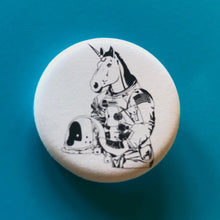 Load image into Gallery viewer, Magnet - 1.25 Inch: Astronaut Unicorn - Black & White