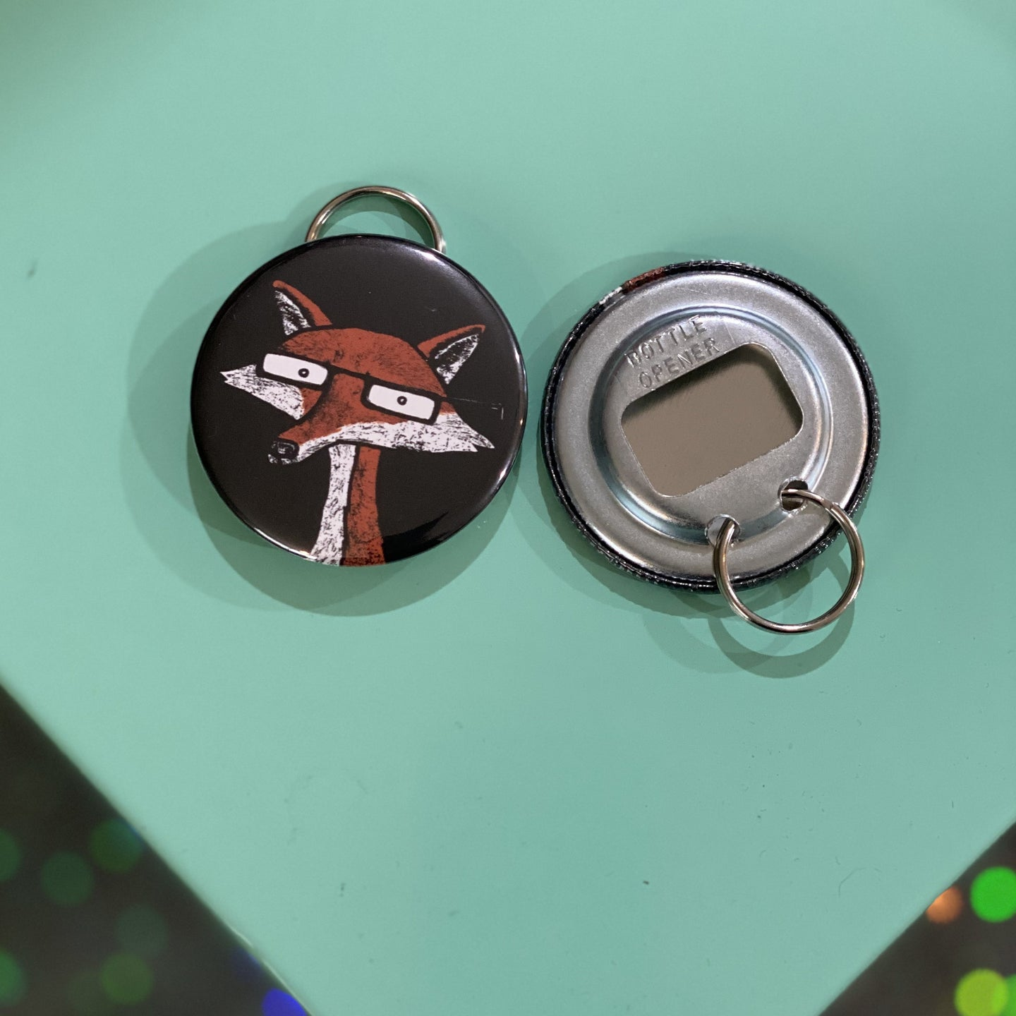 Bottle Opener Keychain - Fox With Glasses