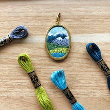 Load image into Gallery viewer, ONLINE CLASS: Stitch A Pacific Northwest Mountain Landscape Pendant