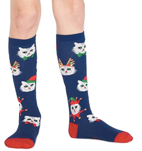 SALE Sock - Youth Knee: Santa Claws