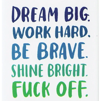 Magnet - Dream Big. Work Hard. Be Brave. Shine Bright. Fuck Off.